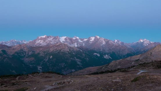 Thumbnail for Time lapse sunrise from twilight to day on the the Alps