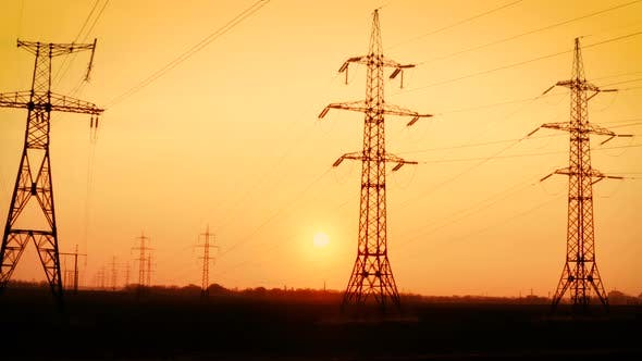 Thumbnail for High Voltage Power Lines At The Sunset Time