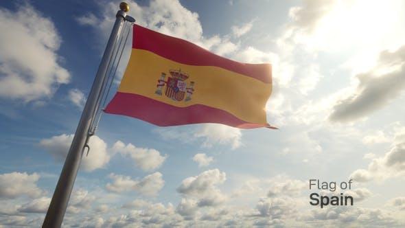 Spain Flag on a Flagpole