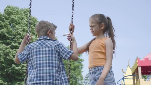 Thumbnail for Adorable Girl with Long Hair Swinging on a Swing Cute Boy Outdoors. Couple of Happy Children. Funny