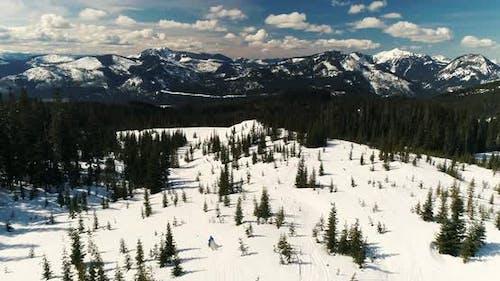 One Person Snowmobiling Down Trail Cascade Mountain Range