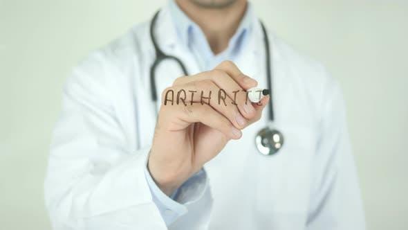 Arthritis, Doctor Writing on Transparent Screen