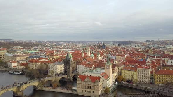 Thumbnail for Prague, Aerial View of Karlov Bridje. Vltava River.
