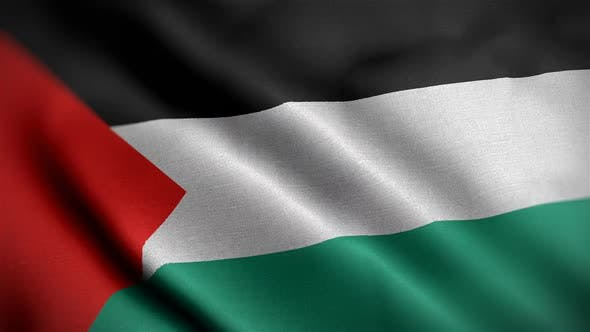 Palestine Flag Closeup Blowing In Wind