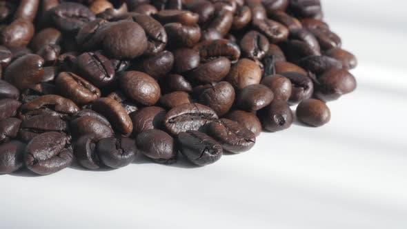 Thumbnail for Fresh Arabica coffee beans on white 4K tilting footage