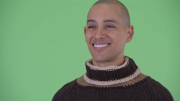 Thumbnail for Face of Happy Bald Multi Ethnic Man Thinking Ready for Winter