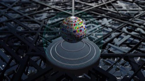 4K - Globe With World Flags Loop