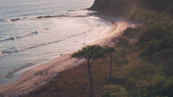 White sandy beach near Nosara, Guanacaste Province, Costa Rica. Aerial drone view