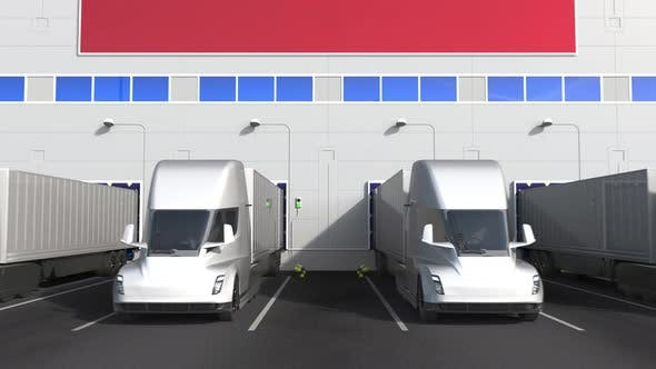 Trucks at Warehouse Loading Dock with Flag of MOROCCO