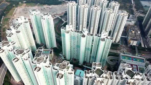Flying up Over Hong Kong Residential District