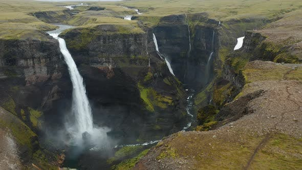 Haifoss Waterfall in Iceland Aerial View