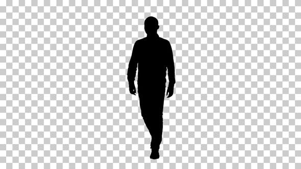 Thumbnail for Silhouette Young man walking in a good mood, Alpha Channel