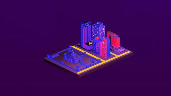 Isometric castle between cities