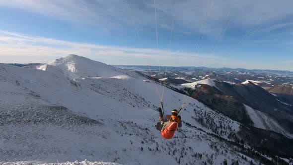 Paragliding Fly High above Winter Mountains Freedom Adrenaline Adventure