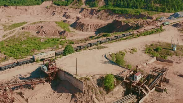 Aerial View Sand Quarry Industrial Extraction of Sand for Construction Industry