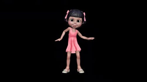 3d Character Little Girl Dancing Loop On Alpha Channel