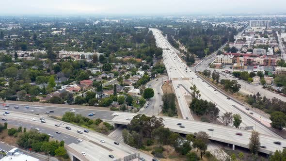 Thumbnail for High Angle View Over the Overpass in Los Angeles and Buildings Around It