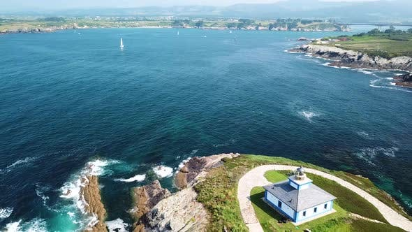 Thumbnail for Aerial View of the Lighthouse on Pancha Island. Northern Spain in Summer