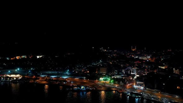 Thumbnail for Golden Horn And Galata Bridge Aerial Hyperlapse At Night