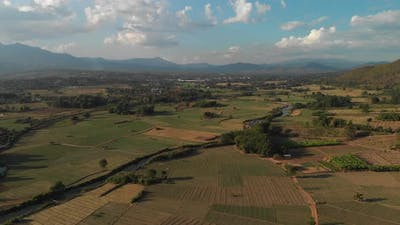 Aerial Footage of Rice Paddies in Pai Thailand