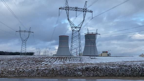 Belarusian Nuclear Power Plant near the town of Ostrovets, in winter