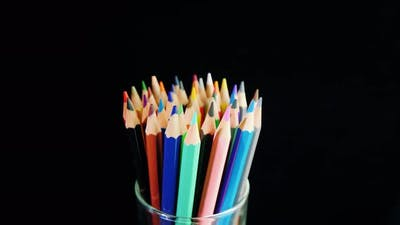 Set of Bright Multi-colored Pencils on a White Background