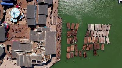 Aerial View of the Docks in San Francisco Near San Francisco Bay