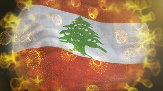 Lebanon Flag With Coronavirus Microbe Centered