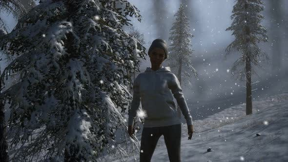 Thumbnail for Beautiful Young Woman in Winter Forest