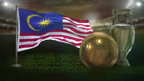 Malaysia Flag With Football And Cup Background Loop