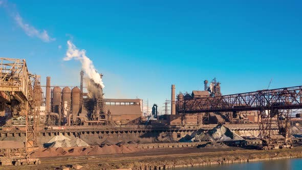 Thumbnail for Aerial View. Metallurgical Production, Operation of Blast Furnaces, Crane Work, Hyperlapse