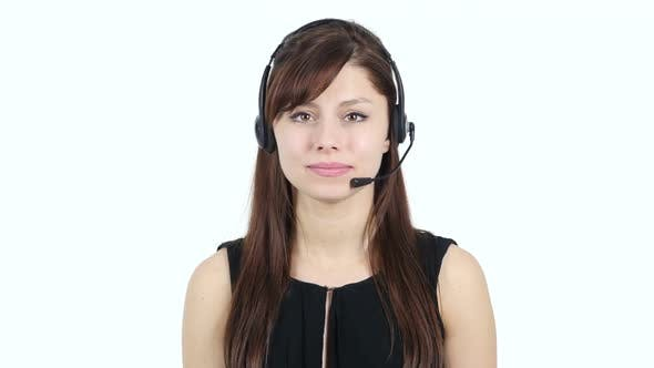 Thumbnail for Young Girl Talking on Headphone, Call Center