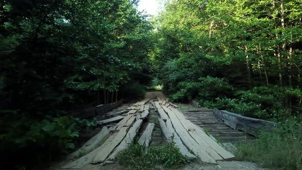 Thumbnail for Crossing Wood Bridge Over the River in Caucasus Rainforest.  Slowmotion