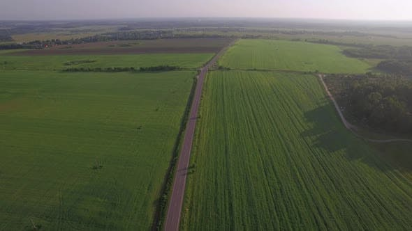 Thumbnail for Flying Over the Roads Among Green Fields, Russia