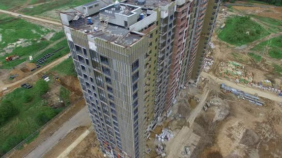 Thumbnail for An Aerial View of an Almost Finished Multi Storey Building on the Construction Site