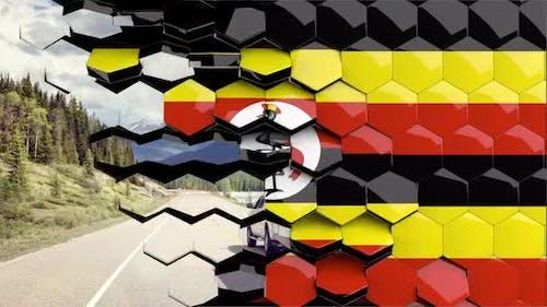 Uganda Flag Hexagon Transition - 4K Resolution