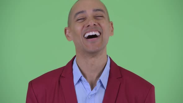 Thumbnail for Face of Happy Bald Multi Ethnic Businessman Smiling