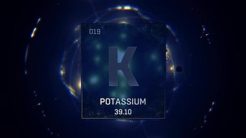 Potassium as Element 19 of the Periodic Table On Blue Background