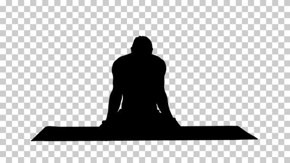 Thumbnail for Silhouette man practicing yoga in lotus position., Alpha Channel