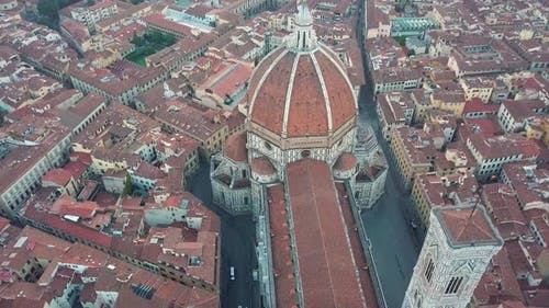 Aerial View on the City and Cathedral of Santa Maria Del Fiore