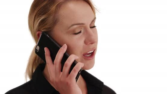 Thumbnail for Blonde millennial female beauty having phone conversation on white copy space
