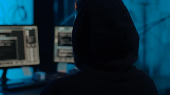 Thumbnail for Hacker with Computers Showing Middle Finger 49