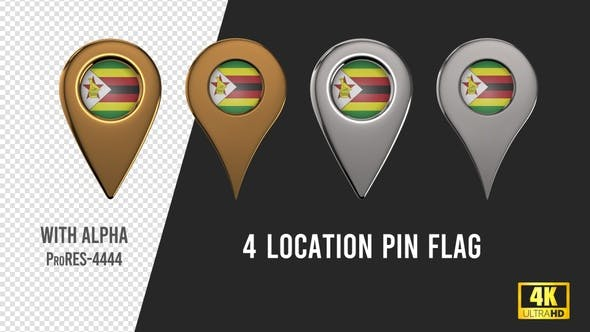 Zimbabwe Flag Location Pins Silver And Gold