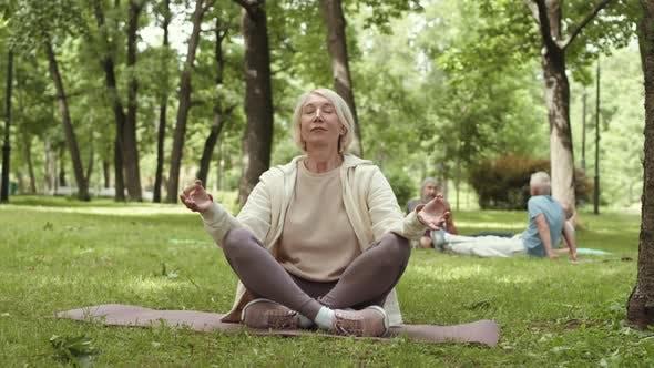 Senior Female Yogi Meditating in Park