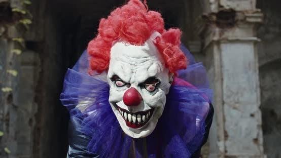Scary Clown Looking At Camera