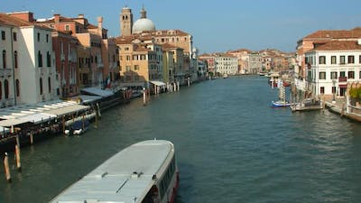 Water transport in Venice, motor boats on the Grand Canal Venice