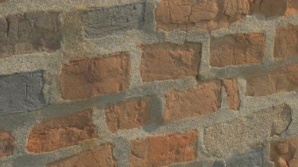 Thumbnail for Brick wall damage 4K 2160p UHD video - Old brick wall panning 4K 3840X2160 UHD footage