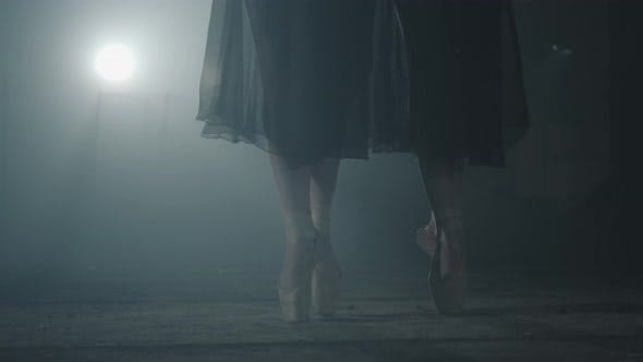 Thumbnail for Female Feet in Pointe Standing in Pose in Spotlight on a Black Background. Two Girls Simultaneously
