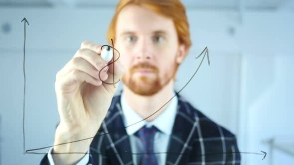 Thumbnail for Man Drawing Dollar Sign on Growth Graph on Transparent Glass, Red Hairs