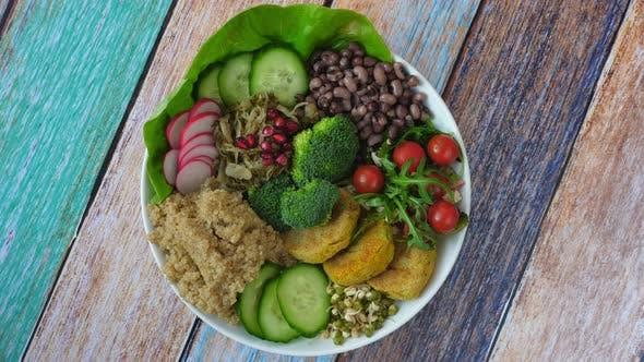 Thumbnail for Healthy Vegan Lunch Bowl. Avocado, Quinoa, Chickpea, Beans.